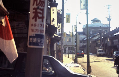 Commercial street downtown Takefu near the Ebisu-dori