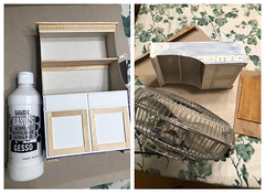 3. Gesso primer (Foxy Belle) Tags: doll furniture make cabinet kitchen old fashioned primitive cardboard box ooak recycle shelf diy cheap inexpensive barbie blythe 16 scale playscale how tutorial cottage style