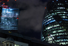 City 3 (D E L I C A T E - L E N S) Tags: london city gherkin leadenhall street n night building tower construction image lights shadows low 50mm f18 fixed prime focal length