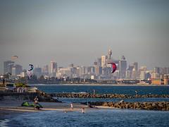 red kite (Mariasme) Tags: kiteboarding sydney city cityscape seascape asplashofred lateafternoon beach