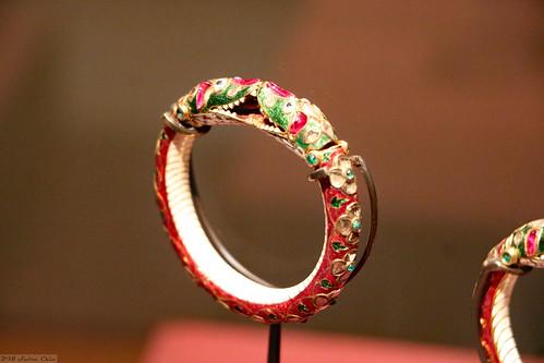 Gold, enamel and gemstone bangle