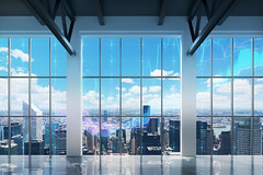 Contemporary office with New York view. Financial charts are drawn over the windows. (nithiyabhaskar) Tags: city business empty corporate office new view urban windows newyork newyorkcity buildings architecture skyline bluesky clouds sprawl bare loft day highrise skyscraper movingin modern movingout nopeople nobody realestate downtown overview charts investing graphs district financial illustration overlay growth rate concept russianfederation