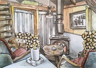 Salt Cafe, Oslo, Norway. Drawn on location.