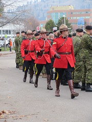 The Horsemen on foot (jamica1) Tags: kelowna okanagan bc british columbia canada remembrance day november 11th parade rcmp grc royal canadian mounted police mounties
