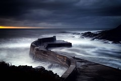 Collieston Harbour (PeskyMesky) Tags: collieston colliestonharbour aberdeenshire scotland longexposure storm cloud sky cloudscape sunrise sunset water wave canon canon6d eos leefilter littlestopper
