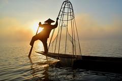 Inle lake fisherman (Neal J.Wilson) Tags: myanmar burma asia boats inle lake water working silhouette sunrise dawn sunsets fishing fisherman fishingnets