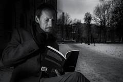 Reader is the author (rsvatox) Tags: saintpetersburg strobism monochrome dark people book reading blackandwhite nocolor poetry