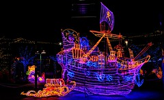 pirate ship of lights (JoelDeluxe) Tags: rol riveroflights abq biopark nm december 2018 albuquerque biological park pnm light display colors lights sculptures fantasy newmexico hdr joeldeluxe
