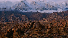 A Mysterious Medley of Boulders and Crags (Kevin Benedict Photography) Tags: alabamahills 395 lonepine california nikon landscape mountwhitney photobenedict lonepinepeak mtwhitney sierranevada manzanar sunrise rocks rocky boulders crags clouds peaks ridges cloudy wisps mood highsierra dawn inyo nationalforest easternsierra soft subtle light sierracrest morning