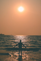 Sun chaser (portrait) (nahinmiah93) Tags: beach boat sea sky sunset people peaceful nature beautiful goa sand scene india vacation sunny seaside coast shore
