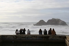Visitors watching the Pacific from bath ruins (daveynin) Tags: landsend sanfrancisco nps ocean shore ruins abandoned pool sutrobaths coastline rocks seastack stack people sit wave