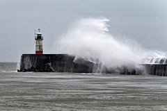 Harbour Arm (Croydon Clicker) Tags: sea ocean lighthouse wall harbour waves breaker spray water storm wind newhaven eastsussex