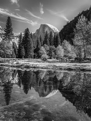 Half Dome Reflection in Black and White (Jeffrey Sullivan) Tags: national park fall colors photography workshop yosemitenationalpark yosemitevalley yosemitevillage mariposacounty california usa nature landscape travel night photographer canon eos 5d mark iv photo copyright 2018 jeff sullivan october yosemite blackandwhite on1pics silver efex hdr photomatix