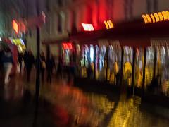 promenade parisienne (objet introuvable) Tags: colors couleurs nuit night paris pavés pavement reflets panasonic lumixgx8 street streetview abstract abstrait art ville town rue urban light mystery