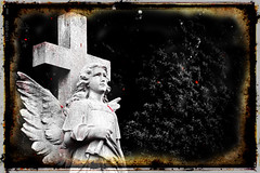 Faded Angel (joseph_donnelly) Tags: fade faded angel statue stone colour red bw grave gravestone