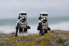 """""""Headland Patrol"""". (Working hard for high quality.) Tags: lego minifigure star wars galactic empire rock coast shore background"""