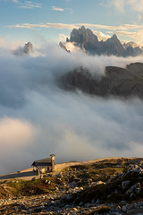 Cloudy valley (Rodney Topor) Tags: dolomites italy landscape afternoonlight mountains clouds chapel xf35mmf2 trecime xt2