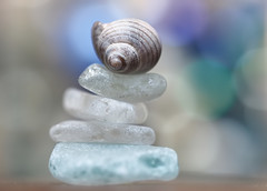 blue balance (skloi) Tags: balance macromonday seashell seaglass seeglas strandglas schnecke muschel blau blue weiss white blueforyoume2019 smileonsaturday lookingcloseonfriday stack heaporstack