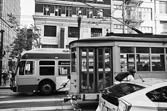 Transportation in this century!! (@ChrisM) Tags: transport city locomation bike people walk tour train tram bus car downtown sanfrancisco san francisco california old hybrid diversity