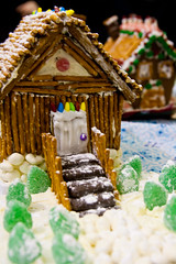A cozy cabin for the month! (J.R. Rondeau) Tags: rondeau yellowknife nt christmas gingerbread houses gingerbreadhouses xmas candy canoneos tamron2875 photoshopelements10