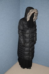 Black quilted down coat (Warm Clothes Fetish) Tags: girl sweat torture niqab hijab hot warm coat boots fur fleece black quilted down slave winter