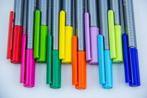 Closeup of Colorful Markers