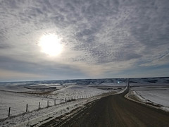 Back roads 2 (darletts56) Tags: sky blue cloud clouds sun snow white road gravel brown pole poles post posts fence fences wire wires farm farms building buildings valley lake water frozen cold tree trees prairie field fields saskatchewan canada country endless
