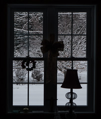 Dehors (André-Guy Robert) Tags: andréguyrobert andreguyrobert neige snow pénombre twilight attwilight arbres trees hiver winter fenêtre window lampe lamp silhouette ombre shadow chinoise chinese contrejour backlight backlighting