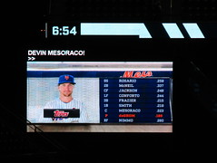 "Citi Field, 09/26/18 (NYM v ATL): Jacob deGrom graphics as shown during the announcement of the Mets' starting lineup (the ""closed captioning"" is one player behind what's shown on the video board) (IMG_3602a) (Gary Dunaier) Tags: baseball stadiums stadia ballparks mets newyorkmets flushing queens newyorkcity queenscounty queensboro queensborough citifield"