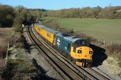 37025. Wolfhall. 17-01-2019 (*Steve King*) Tags: 37025 3z23 wolfhall berks hants class 37 large logo inverness tmd tractor network rail test train crofton exeter riverside ferme park