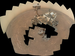 Yet Incomplete Curiosity Self-Portrait, variant (sjrankin) Tags: 21january2019 edited panorama nasa mars msl curiosity galecrater mountains haze selfie selfportrait sky incomplete 3480mb large
