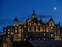 Bank Of Scotland (tubblesnap) Tags: bank of scotland royal mile edinburgh moon low light night building architecture dome sky view historical history