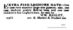 1833  women's hats = william bagley  South Market and Hudson st, (albany group archive) Tags: leghorn gipsey gypsy bolivar straw 1830s old albany ny vintage photograph photo picture historical history historic