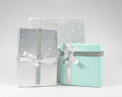 """Silver and Turquoise (❅We Got 13"""" Of SNOW!!!❅) Tags: box boxes silver turquoise ribbons lightbox"""