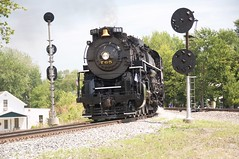 765 splitting the signals (THE RESTLESS RAILFAN) Tags: steam engine nkp 765 signals house blue sky coupler wheels flag stars stripes