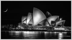Sydney Opera House and Cresent Moon (Jason OC) Tags: jasonoconnell canon5dmarkii 24105f4isii sydney sydneyoperahouse australia 2018 blackandwhite monochrome bw