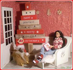 12.advent day - advent calendar with dolls (Mary (Mária)) Tags: christmas christmastree barbie barbiebasic doll diorama indoor dog santaclaus snow winter fashionistas handmade mattel marykorcek