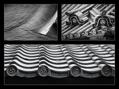 Rooves triptych (ricgillams) Tags: japan roof rooves roofs mono monochrome triptych tripy architecture temple shrine