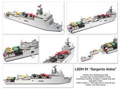 "LSDH 91 ""Sargento Aldea"" Foudre-class Landing Platform Dock LEGO Model 1:200 Scale (LuisPG2015) Tags: helicoptercarrier amphibiousoperation cougar dauphin helicopter landingplatformdock sargentoaldea lsdh91 foudreclass foudre lego"