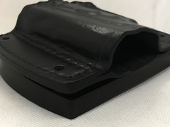 Car Holster Angled Front View (americanleathersmith) Tags: carholster leatherholster gunholster concealcarry holster mounted leather