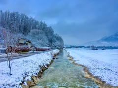 Brook in winter near Oberaudorf, Bavaria, Germany (UweBKK (α 77 on )) Tags: brook stream creek water flow scenery scenic landscape field forest tree snow white winter cold grey sky clouds oberaudorf bavaria bayern germany deutschland europe europa iphone