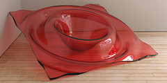 Cherry Ripple (Me & My 5D3) Tags: red glass ripple wood gallery art blender lux
