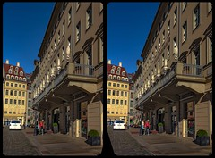 Dresdner Neumarkt 3-D / Stereoscopy / CrossView / HDRi (Stereotron) Tags: saxony sachsen dresden elbflorenz hotel architecture streetphotography deutschland germany europe cross eye view xview crosseye pair free sidebyside sbs kreuzblick bildpaar 3d photo image stereo spatial stereophoto stereophotography stereoscopic stereoscopy stereotron threedimensional stereoview stereophotomaker photography picture raumbild twin canon eos 550d remote control synchron kitlens 1855mm 100v10f tonemapping hdr hdri raw urban citylife