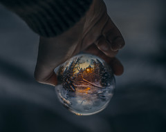 In a false mirror (kubaszymik) Tags: crystal ball landscepe canon colors sphere hdr hand pov poland beskidy