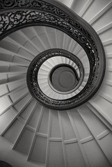 Spiral staircase at the Peabody Conservatory Library in Baltimore. (Bill A) Tags: spiralstaircase blackandwhite lookingup peabodyconservatory spirals blackandwhitephotography staircase architecturephotography architecture
