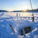 Trou creusé dans la glace du fleuve Kemijoki pour le sauna finlandais