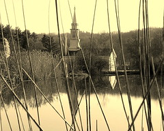 Reflecting On Church (Eat With Your Eyez) Tags: reflection reflecting church steeple water pond lake country setting rural bath ohio weeds cattails nature outdoors sepia beautiful inspiring panasonic fz1000 trees reeds reflections
