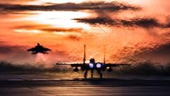 """Tricky Flight"" (Steve Cooke-SRAviation) Tags: 48thfighterwing f15e sraviation 500mm 493fs sunset f15c raflakenheath usaf f15eagle 5d3 canon 492fs usafe 494fs trickyflight strikeeagle"