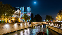 Notre Dame Light Show (harvey.doane) Tags: paris notredame france lightshow fullmoon lights nightshot sonya7iii seineriver cathedral architecture river bridge