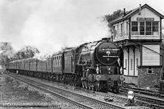 LNER A2 No 60532 'Blue Peter' passing Melton Mowbray Signal Box (LMS 1942) - 19th April 1997 (robinstewart.smith) Tags: lner a2 lms melton signal box 1997
